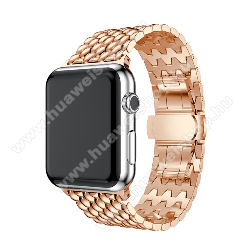 Fém okosóra szíj - ROSE GOLD - 175mm hosszú, 21mm széles - Apple Watch Series 1 / 2 / 3 - 38mm - ACÉL