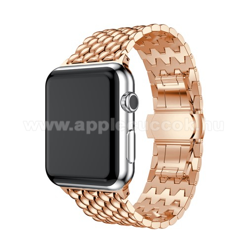 APPLE Watch Series 4 40mm Fém okosóra szíj - ROSE GOLD - 175mm hosszú, 21mm széles - Apple Watch Series 1/2/3 38mm / APPLE Watch Series 4 40mm / APPLE Watch Series 5 40mm - ACÉL