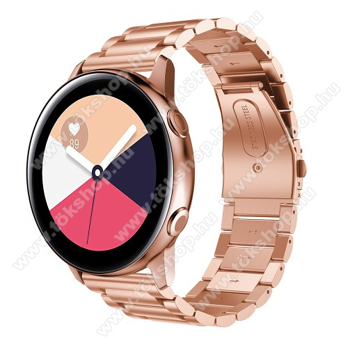 Fém okosóra szíj - ROSE GOLD - 188mm hosszú, 20mm széles - rozsdamentes acél, csatos - SAMSUNG Galaxy Watch 42mm / Xiaomi Amazfit GTS / SAMSUNG Gear S2 / HUAWEI Watch GT 2 42mm / Galaxy Watch Active / Active 2