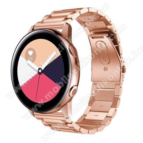 Fém okosóra szíj - ROSE GOLD - 188mm hosszú, 20mm széles - rozsdamentes acél, csatos - SAMSUNG Galaxy Watch 42mm / Xiaomi Amazfit GTS / HUAWEI Watch GT / SAMSUNG Gear S2 / HUAWEI Watch GT 2 42mm / Galaxy Watch Active / Active  2 / Galaxy Gear Sport