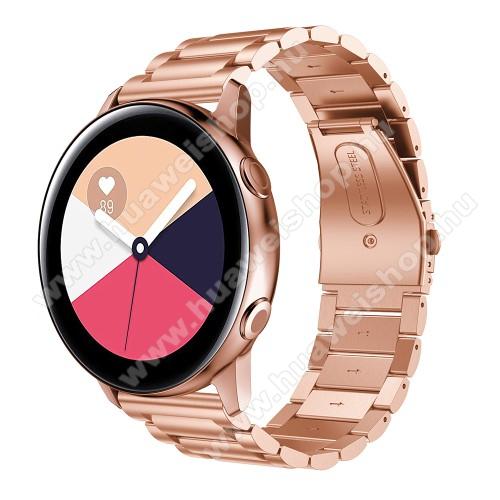 HUAWEI Watch 2Fém okosóra szíj - ROSE GOLD - 188mm hosszú, 20mm széles - rozsdamentes acél, csatos - SAMSUNG Galaxy Watch 42mm / Xiaomi Amazfit GTS / SAMSUNG Gear S2 / HUAWEI Watch GT 2 42mm / Galaxy Watch Active / Active 2