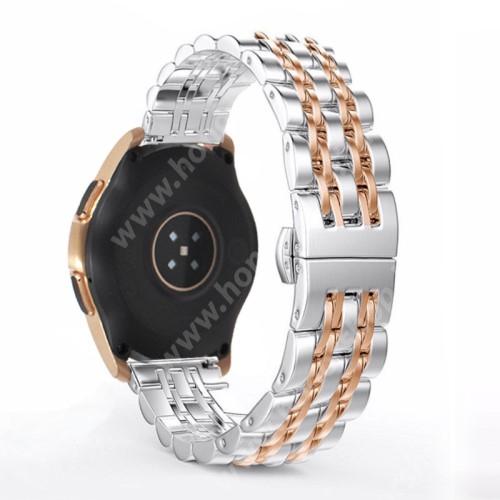 HUAWEI Honor MagicWatch 2 42mm Fém okosóra szíj - ROSE GOLD / EZÜST - rozsdamentes acél, speciális pillangó csatos, 20mm széles - SAMSUNG Galaxy Watch 42mm / Xiaomi Amazfit GTS / SAMSUNG Gear S2 / HUAWEI Watch GT 2 42mm / Galaxy Watch Active / Active 2