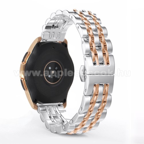 Fém okosóra szíj - ROSE GOLD / EZÜST - rozsdamentes acél, speciális pillangó csatos, 20mm széles - SAMSUNG Galaxy Watch 42mm / Xiaomi Amazfit GTS / SAMSUNG Gear S2 / HUAWEI Watch GT 2 42mm / Galaxy Watch Active / Active 2