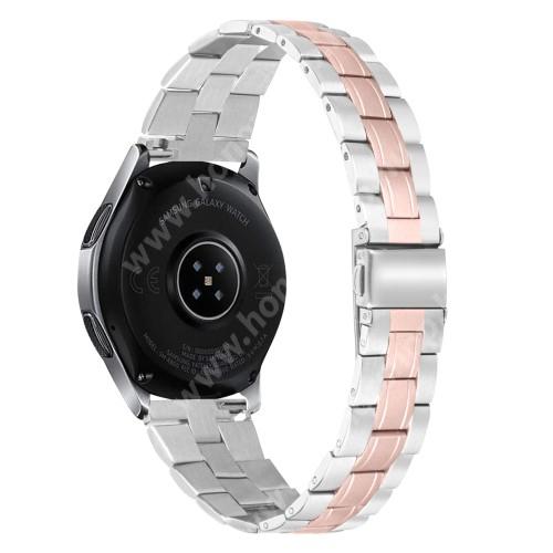 Fém okosóra szíj - ROSE GOLD / EZÜST - rozsdamentes acél, csatos, 184mm hosszú, 22mm széles - SAMSUNG Galaxy Watch 46mm / Watch GT2 46mm / Watch GT 2e / Galaxy Watch3 45mm / Honor MagicWatch 2 46mm