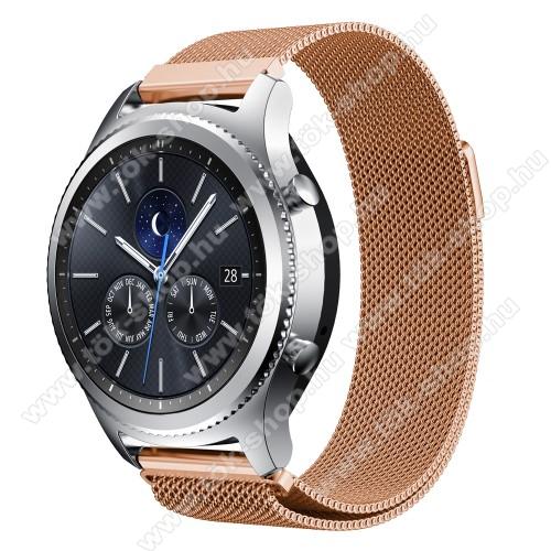 Fém okosóra szíj - ROSE GOLD - fém háló kialakítás, mágneses - 215mm hosszú, 20mm széles - SAMSUNG Galaxy Watch 46mm / SAMSUNG Gear S3 Classic / SAMSUNG Gear S3 Frontier