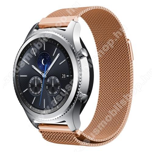 Fém okosóra szíj - ROSE GOLD - fém háló kialakítás, mágneses - 215mm hosszú, 22mm széles - SAMSUNG Galaxy Watch 46mm / SAMSUNG Gear S3 Classic / SAMSUNG Gear S3 Frontier