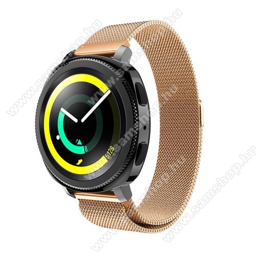 SAMSUNG SM-R600 Galaxy Gear SportFém okosóra szíj - ROSE GOLD - fém háló kialakítás, mágneses, 235mm hosszú, 20 mm széles, max 225mm-es csuklóra - SAMSUNG SM-R600 Galaxy Gear Sport