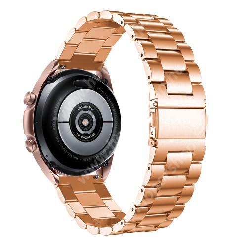 HUAWEI Watch GT 2 42mm Fém okosóra szíj - ROSE GOLD - rozsdamentes acél, csatos, 184mm hosszú, 20mm széles, 135-235mm-es méretű csuklóig ajánlott - SAMSUNG Galaxy Watch 42mm / Xiaomi Amazfit GTS / Galaxy Watch3 41mm / HUAWEI Watch GT 2 42mm / Galaxy Watch Active / Active 2
