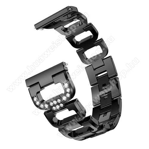 HUAWEI Watch MagicFém okosóra szíj - strassz kővel díszített, 180mm hosszú, 22mm széles, 140-210mm csuklóméretig ajánlott - FEKETE - HUAWEI Watch GT / HUAWEI Watch Magic / Watch GT 2 46mm