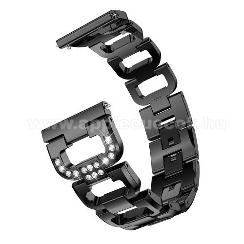 Fém okosóra szíj - strassz kővel díszített, 180mm hosszú, 22mm széles, 140-210mm csuklóméretig ajánlott - FEKETE - HUAWEI Watch GT / HUAWEI Watch Magic / Watch GT 2 46mm