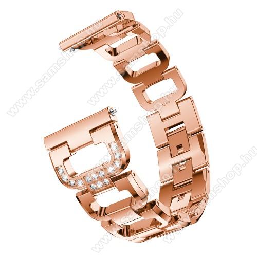 Fém okosóra szíj - strassz kővel díszített, 180mm hosszú, 22mm széles, 140-210mm csuklóméretig ajánlott - ROSE GOLD - HUAWEI Watch GT / HUAWEI Watch Magic / Watch GT 2 46mm