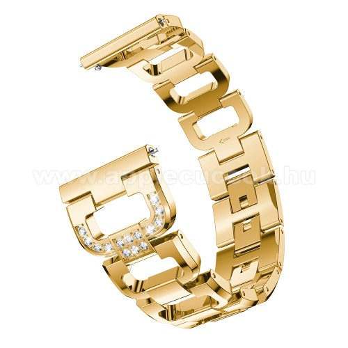 Fém okosóra szíj - strassz kővel díszített, 180mm hosszú, 22mm széles, 140-210mm csuklóméretig ajánlott - ARANY - HUAWEI Watch GT / HUAWEI Watch Magic / Watch GT 2 46mm
