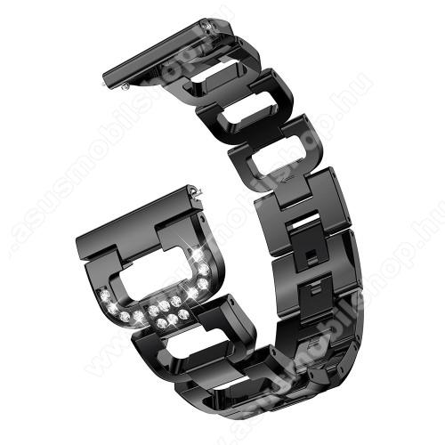 Fém okosóra szíj - strassz kővel díszített, 20mm széles - FEKETE - SAMSUNG Galaxy Watch 42mm / Xiaomi Amazfit GTS / SAMSUNG Gear S2 / HUAWEI Watch GT 2 42mm / Galaxy Watch Active / Active 2