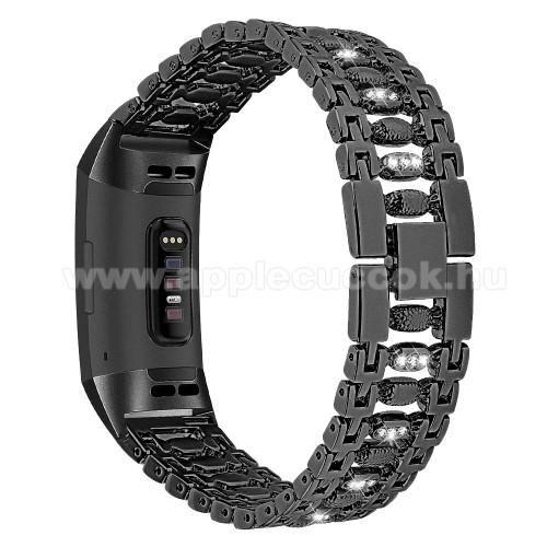 Fém okosóra szíj - strassz kővel díszített - FEKETE - Fitbit Charge 3 / Fitbit Charge 3 SE / Fitbit Charge 4