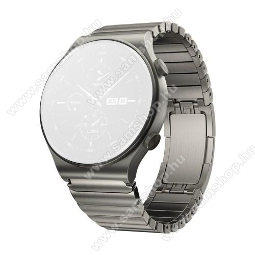 Fém okosóra szíj - VILÁGOSSZÜRKE - rozsdamentes acél, csatos, 190mm hosszú, 22mm széles - SAMSUNG Galaxy Watch 46mm / Watch GT2 46mm / Watch GT 2e / Galaxy Watch3 45mm / Honor MagicWatch 2 46mm