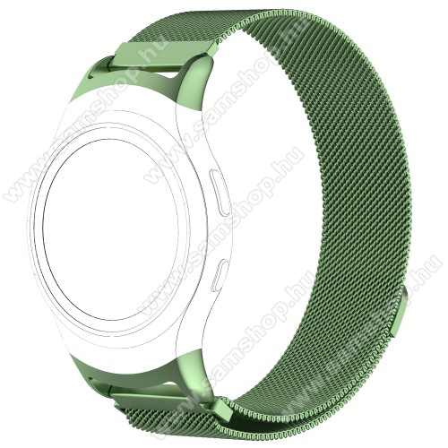 SAMSUNG SM-R360 Gear Fit 2Fém okosóra szíj - ZÖLD - fém háló kialakítás, mágneses, 245mm hosszú, 20mm széles - SAMSUNG Gear Fit 2 SM-R360 / SAMSUNG Gear Fit 2 Pro SM-R365