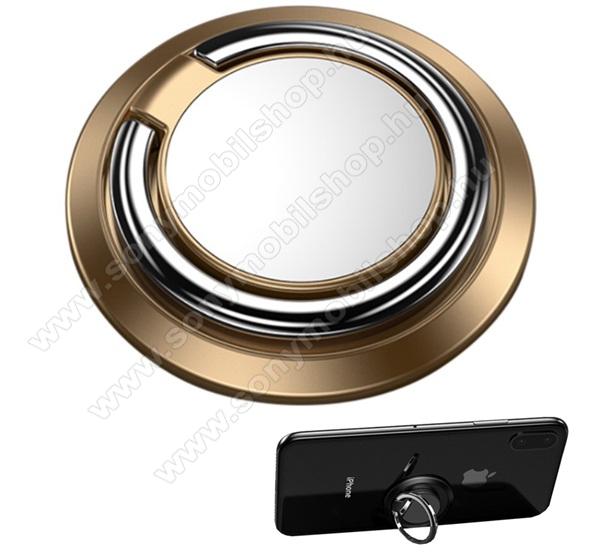 Fém ujjtámasz, gyűrű tartó - Biztos fogás készülékéhez, fém, ragasztható, kitámasztó, 360°-ban forgatható - ARANY