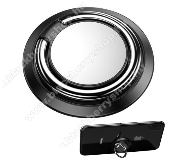 Fém ujjtámasz, gyűrű tartó - Biztos fogás készülékéhez, fém, ragasztható, kitámasztó, 360°-ban forgatható - FEKETE