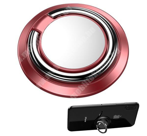 Bluboo S3 Fém ujjtámasz, gyűrű tartó - Biztos fogás készülékéhez, fém, ragasztható, kitámasztó, 360°-ban forgatható - ROSE GOLD
