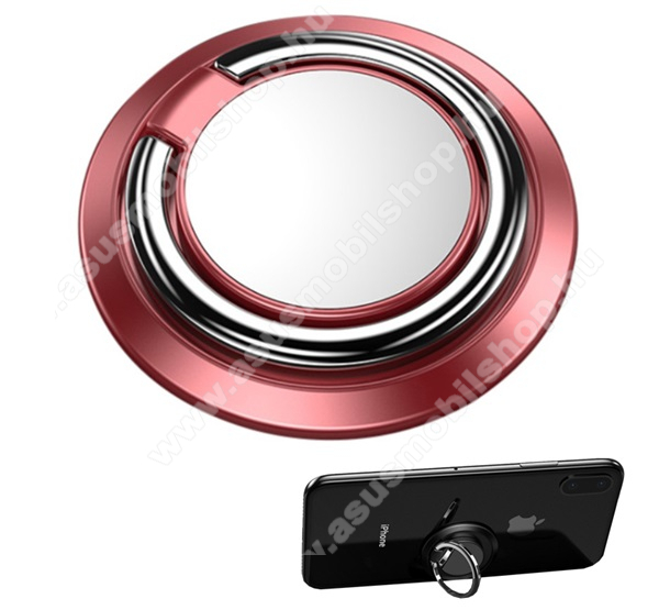 Fém ujjtámasz, gyűrű tartó - Biztos fogás készülékéhez, fém, ragasztható, kitámasztó, 360°-ban forgatható - ROSE GOLD
