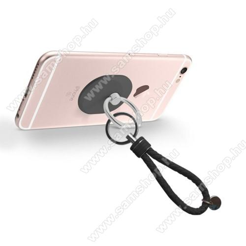 SAMSUNG P5200 Galaxy Tab 3 10.1Fém ujjtámasz, gyűrű tartó - Biztos fogás készülékéhez - FEKETE