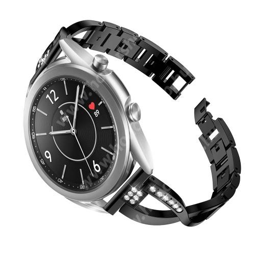 HUAWEI Honor MagicWatch 2 42mm Fém X-shape okosóra szíj - strasszkővel díszített, 175mm hosszú, 20mm széles, 135-235mm-es csuklóméretig ajánlott - FEKETE - SAMSUNG Galaxy Watch 42mm / Xiaomi Amazfit GTS / Galaxy Watch3 41mm / HUAWEI Watch GT 2 42mm / Galaxy Watch Active / Active 2