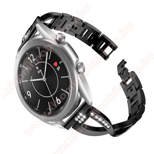 Fém X-shape okosóra szíj - strasszkővel díszített, 175mm hosszú, 20mm széles, 135-235mm-es csuklóméretig ajánlott - FEKETE - SAMSUNG Galaxy Watch 42mm / Xiaomi Amazfit GTS / Galaxy Watch3 41mm / HUAWEI Watch GT 2 42mm / Galaxy Watch Active / Active 2