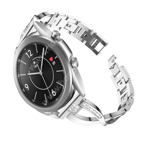 HUAWEI Honor MagicWatch 2 42mm Fém X-shape okosóra szíj - strasszkővel díszített, 175mm hosszú, 20mm széles, 135-235mm-es csuklóméretig ajánlott - EZÜST - SAMSUNG Galaxy Watch 42mm / Xiaomi Amazfit GTS / Galaxy Watch3 41mm / HUAWEI Watch GT 2 42mm / Galaxy Watch Active / Active 2