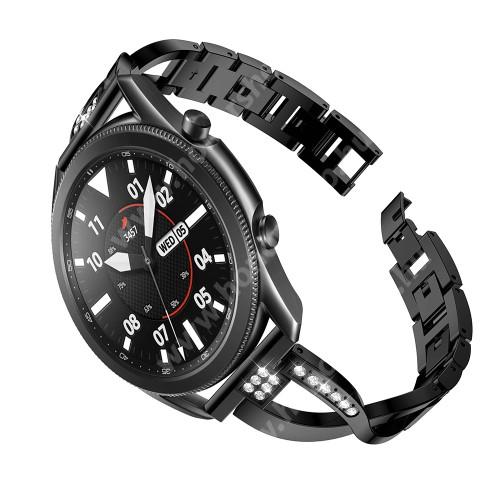 Fém X-shape okosóra szíj - strasszkővel díszített, 175mm hosszú, 22mm széles, 135-235mm-es csuklóméretig ajánlott - FEKETE - SAMSUNG Galaxy Watch 46mm / Watch GT2 46mm / Watch GT 2e / Galaxy Watch3 45mm / Honor MagicWatch 2 46mm