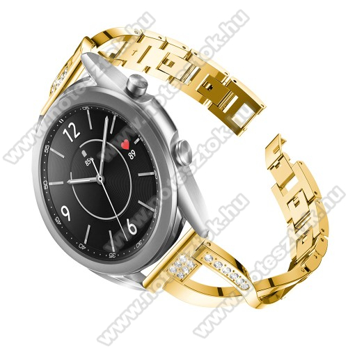 WOTCHI SmartWatch W22SFém X-shape okosóra szíj - strasszkővel díszített, 175mm hosszú, 20mm széles, 135-235mm-es csuklóméretig ajánlott - ARANY - SAMSUNG Galaxy Watch 42mm / Xiaomi Amazfit GTS / Galaxy Watch3 41mm / HUAWEI Watch GT 2 42mm / Galaxy Watch Active / Active 2