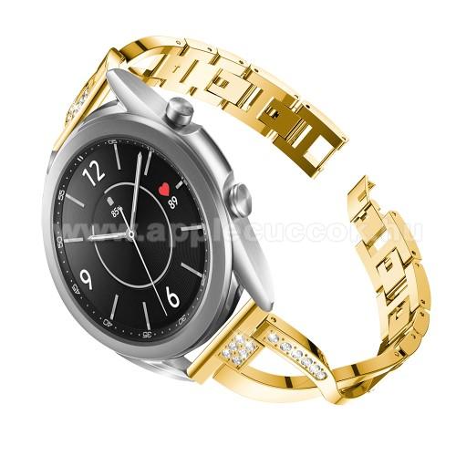 Fém X-shape okosóra szíj - strasszkővel díszített, 175mm hosszú, 20mm széles, 135-235mm-es csuklóméretig ajánlott - ARANY - SAMSUNG Galaxy Watch 42mm / Xiaomi Amazfit GTS / Galaxy Watch3 41mm / HUAWEI Watch GT 2 42mm / Galaxy Watch Active / Active 2