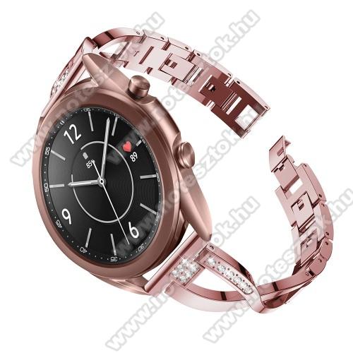WOTCHI SmartWatch W22SFém X-shape okosóra szíj - strasszkővel díszített, 175mm hosszú, 20mm széles, 135-235mm-es csuklóméretig ajánlott - RÓZSASZÍN - SAMSUNG Galaxy Watch 42mm / Xiaomi Amazfit GTS / Galaxy Watch3 41mm / HUAWEI Watch GT 2 42mm / Galaxy Watch Active / Active 2