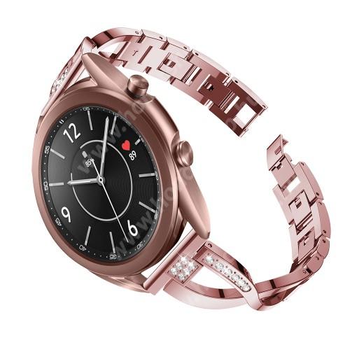 HUAWEI Honor MagicWatch 2 42mm Fém X-shape okosóra szíj - strasszkővel díszített, 175mm hosszú, 20mm széles, 135-235mm-es csuklóméretig ajánlott - RÓZSASZÍN - SAMSUNG Galaxy Watch 42mm / Xiaomi Amazfit GTS / Galaxy Watch3 41mm / HUAWEI Watch GT 2 42mm / Galaxy Watch Active / Active 2