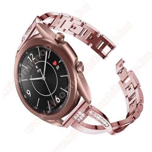 Xiaomi Amazfit BIP LiteFém X-shape okosóra szíj - strasszkővel díszített, 175mm hosszú, 20mm széles, 135-235mm-es csuklóméretig ajánlott - RÓZSASZÍN - SAMSUNG Galaxy Watch 42mm / Xiaomi Amazfit GTS / Galaxy Watch3 41mm / HUAWEI Watch GT 2 42mm / Galaxy Watch Active / Active 2