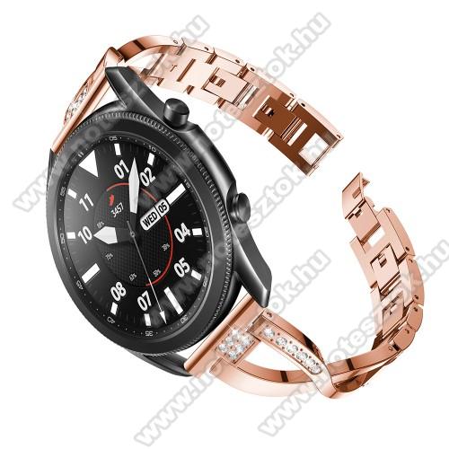 Xiaomi Mi Watch (FOR GLOBAL MARKET)Fém X-shape okosóra szíj - strasszkővel díszített, 175mm hosszú, 22mm széles, 135-235mm-es csuklóméretig ajánlott - ROSE GOLD - SAMSUNG Galaxy Watch 46mm / Watch GT2 46mm / Watch GT 2e / Galaxy Watch3 45mm / Honor MagicWatch 2 46mm