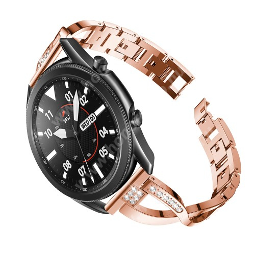 HUAWEI Watch GT 2 46mm Fém X-shape okosóra szíj - strasszkővel díszített, 175mm hosszú, 22mm széles, 135-235mm-es csuklóméretig ajánlott - ROSE GOLD - SAMSUNG Galaxy Watch 46mm / Watch GT2 46mm / Watch GT 2e / Galaxy Watch3 45mm / Honor MagicWatch 2 46mm