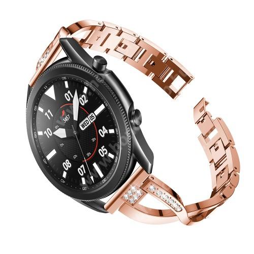 Fém X-shape okosóra szíj - strasszkővel díszített, 175mm hosszú, 22mm széles, 135-235mm-es csuklóméretig ajánlott - ROSE GOLD - SAMSUNG Galaxy Watch 46mm / Watch GT2 46mm / Watch GT 2e / Galaxy Watch3 45mm / Honor MagicWatch 2 46mm