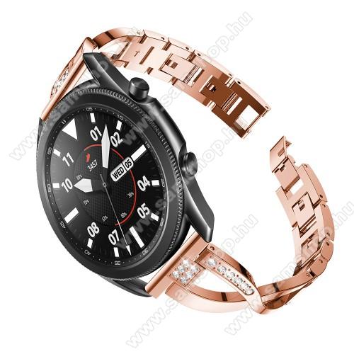 SAMSUNG SM-R760 Gear S3 FrontierFém X-shape okosóra szíj - strasszkővel díszített, 175mm hosszú, 22mm széles, 135-235mm-es csuklóméretig ajánlott - ROSE GOLD - SAMSUNG Galaxy Watch 46mm / Watch GT2 46mm / Watch GT 2e / Galaxy Watch3 45mm / Honor MagicWatch 2 46mm