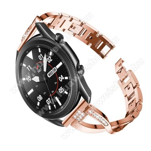 HUAWEI Watch 2 ProFém X-shape okosóra szíj - strasszkővel díszített, 175mm hosszú, 22mm széles, 135-235mm-es csuklóméretig ajánlott - ROSE GOLD - SAMSUNG Galaxy Watch 46mm / Watch GT2 46mm / Watch GT 2e / Galaxy Watch3 45mm / Honor MagicWatch 2 46mm
