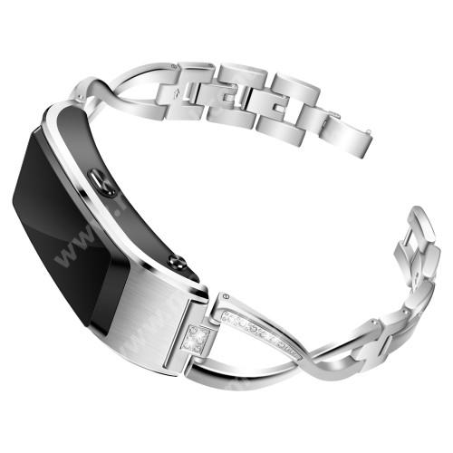 Fém X-shape okosóra szíj - strasszkővel díszített, 18mm széles - EZÜST - HUAWEI TalkBand B5 / Xiaomi Mi Watch (For China Market) / Fossil Gen 4  / Garmin Vivoactive 4s/ Fossil Q Tailor