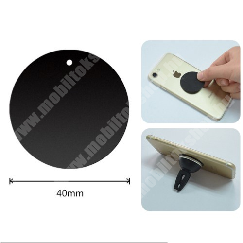 APPLE iPhone X Fémlap mágneses autós tartókhoz - ultravékony 0,5mm, kör alakú 40mm - FEKETE