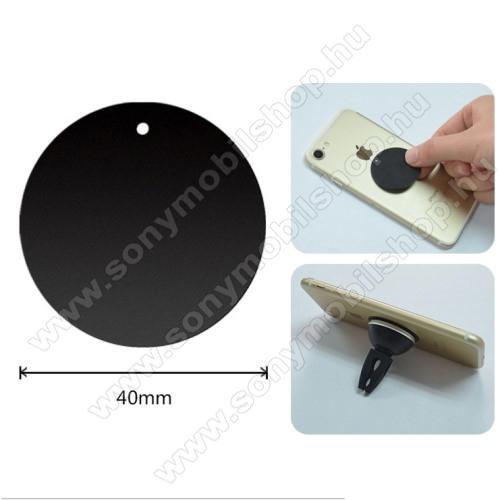 SONY Xperia Z2 TabletFémlap mágneses autós tartókhoz - ultravékony 0,5mm, kör alakú 40mm - FEKETE