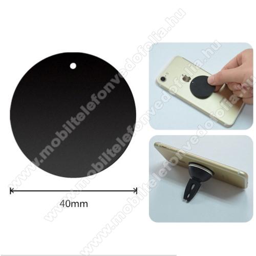 OPPO R17Fémlap mágneses autós tartókhoz - ultravékony 0,5mm, kör alakú 40mm - FEKETE