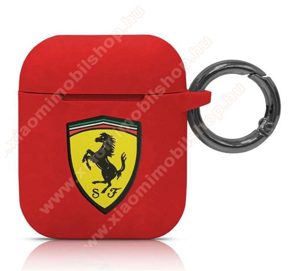 Ferrari szilikon tok Apple AirPods / AirPods 2-höz - karabiner, töltőnyílás - PIROS - FESACCSILSHRE - GYÁRI