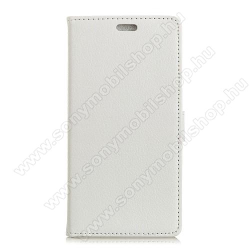 FLEXI notesz tok / flip tok - FEHÉR - asztali tartó funkciós, oldalra nyíló, rejtett mágneses záródás, bankkártya tartó zseb, szilikon belső - SONY Xperia L2