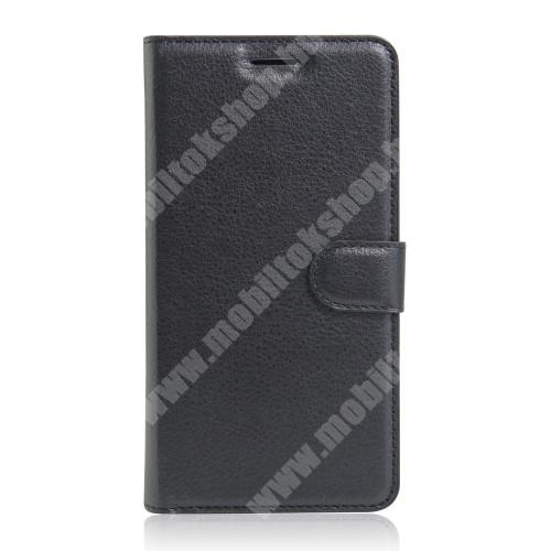 FLEXI notesz tok / flip tok - FEKETE - asztali tartó funkciós, oldalra nyíló, rejtett mágneses záródás, bankkártya tartó zseb, szilikon belső - HUAWEI Y5II / HUAWEI Honor 5 / HUAWEI Honor Play 5 / HUAWEI Honor 5 Play / HUAWEI Y6II Compact