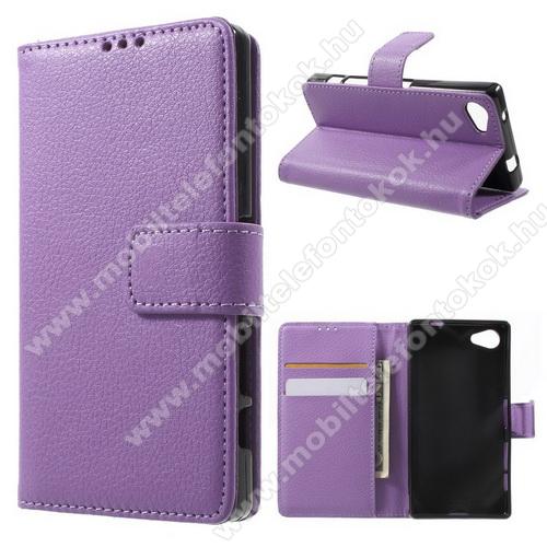 FLEXI notesz tok / flip tok - LILA - asztali tartó funkciós, oldalra nyíló, rejtett mágneses záródás, bankkártya tartó, szilikon belső - SONY Xperia Z5 Compact