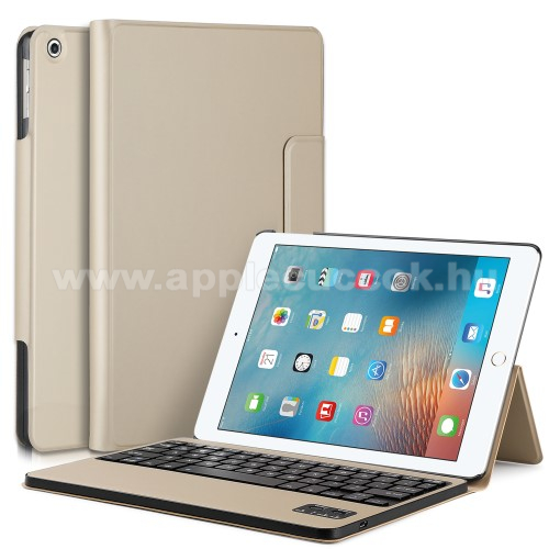 Flip / mappa b?rtok - bluetooth billenty?zet, ANGOL KIOSZT�S! - APPLE IPAD 9.7 (2017) (5. GENER�CI�S) / APPLE iPad 9.7 (2018) - ARANY