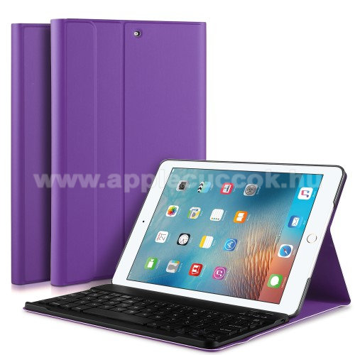 Flip / mappa b?rtok - bluetooth billenty?zet, ANGOL KIOSZT�S! - APPLE iPad 9.7 (2017) (5. GENER�CI�S) / APPLE iPad 9.7 (2018) - LILA