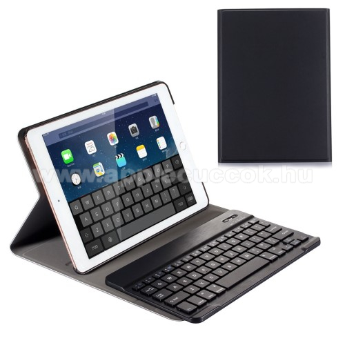 Flip / mappa bőrtok - bluetooth billentyűzet, ANGOL KIOSZTÁS! - APPLE iPad 9.7 (2017) - FEKETE